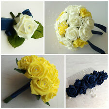 Navy & Yellow Rose Wedding Flowers - Brides Bouquet - Bridesmaid - Buttonhole