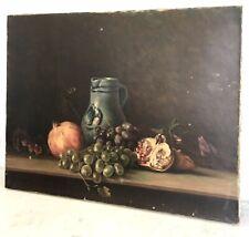 Ancienne nature morte aux grenades huile sur toile tableau signée XIX 19TH 1907