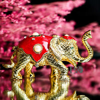 Handmade Cut Crystal Metal Elephant Trinket Boxes Jewelry Wedding Collect Gifts