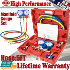 Ac Manifold Gauge Set Refrigeration R22 R12 R134a R410a Withhoses Coupler Adapter