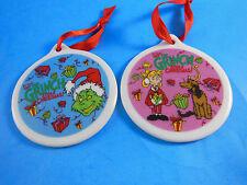 """Dr Seuss How The Grinch Stole Christmas Set of 2 Porcelain Ornaments 3"""""""