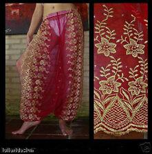 Harem Pants Belly Dance Red w/ Gold Brocade Slit