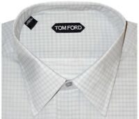 $640 NEW TOM FORD PALE MINT GREEN GRID HAND MADE DRESS SHIRT EU 44 17.5