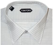 $640 NEW TOM FORD PALE MINT GREEN GRID HAND MADE DRESS SHIRT EU 44 17.5