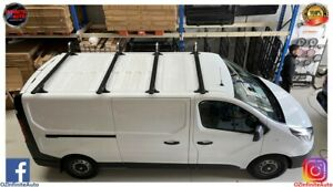 Set of 3 Slimline Matte Black Roof Racks Suitable for Renault Trafic 2018+