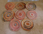 8 Antique Hand Made Victorian Braided Chair Pads Table Rugs GREAT Colors ~FREESH