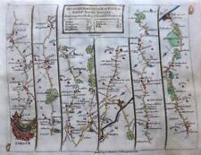 ROAD MAP BY JOHN SENEX c1757  LONDON KENT MIDDLESEX HERTFORD BEDFORD NORTHAMPTON
