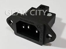psk32 Rhodium IEC C14 Mains Power 250V 15A Inlet Chassis Socket Male Plug HiFi