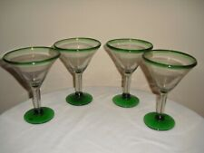 (4) Mexican Hand Blown Glass Martini / Margarita Glasses Green Rim and Base 6.5""