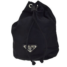 Authentic PRADA MILANO Logos Drawstring Pouch Bag Nylon Black Italy 08Z221
