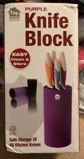 Universal Knife Block Knives Holder Storage Rack Kitchen Stylish Round PURPLE