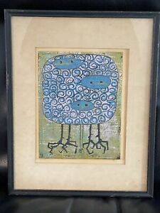 Abstract Expressionist Etching Birds Blue Green limited  edition 24/26 Signed