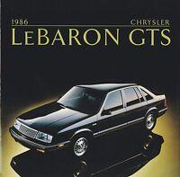1986 Chrysler LeBARON GTS Brochure / Catalog with Color Chart:Le Baron,HighLine