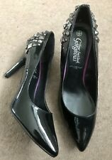 """NEW LOOK COURT POINT HEELS SPIKES EMBELLISHED SHOES BNWT COMFY PATENT 4"""" 6 £20"""