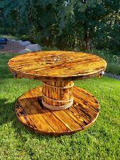 Burnt Cedar Wood Spool Table seats 5