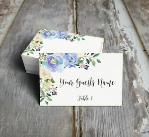 WATERCOLOR BLUE ROSE FLORAL WEDDING PLACE CARDS, TAGS or ESCORT CARDS #120