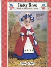 "Fibre Craft FCM202 BETSY ROSS Crochet Doll Dress Pattern for 15"" Fashion Doll"