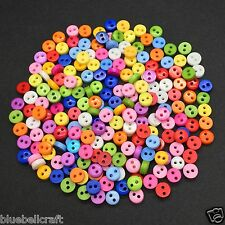 300 6mm ROUND TINY RESIN BUTTONS - MIXED COLOURS - CRAFT - SCRAPBOOK - SEWING