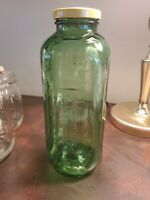 Vintage Green Glass Jar Juice Water Fridge 40 oz Square with Lid 9 in Tall