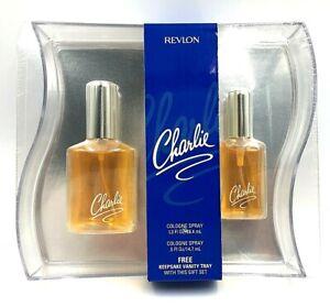 Vintage CHARLIE by REVLON USA Cologne Spray 1.3 and .5 oz. Gift Set NEW SEALED