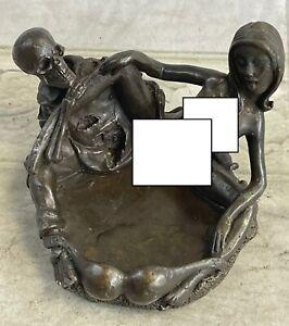 EROTIC SKELETON WITH NYMPH ASHTRAY Decor Art Bronze Sculpture Statue Figurine