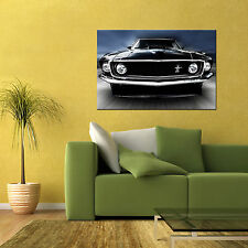 1969 FORD MUSTANG MACH 1 FASTBACK MUSCLE AUTOMOTIVE CAR LARGE POSTER 24x36 in