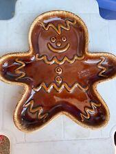 VINTAGE HULL BROWN DRIP Gingerbread Cookie Man Plate Platter K5