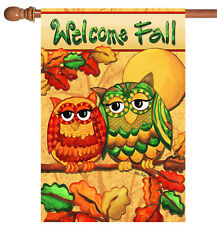 New listing New Toland - Fall Owls - Colorful Autumn Welcome Bird House Flag