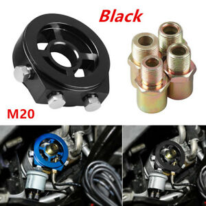 M20 Oil Filter Temp Pressure Cooler Gauge Sandwich Plate Adapter Sensor Black