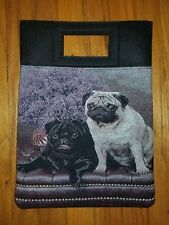 Pug fawn and black Dog tapestry purse book computer bag ltd ed