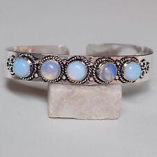 "925 Sterling Silver Plated Beauty Opalite Stone Bangle / Cuff 8.0 "" Inch Round"