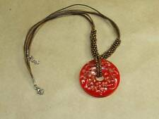 """VTG Red Pressed Foil Glass Circle Pendant & 18"""" Brass Seed Bead 3 Chord Necklace"""