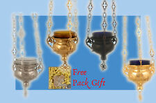 Vigil Hanging Oil Candle Holy Angels Orthodox Design + Free Wicks