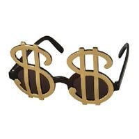 Gold Dollar Money $ Sign Big Pimp Daddy Sunglasses Glasses Gangster Costume