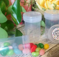 "24 Pill Bead Jars 2+"" tall  Clear Cap 1 ounce Favor Size Container #3812 USA New"