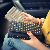 Women Leather Studded Punk Rivets Clutch Wallet Lady Long Trifold Purse Handbag