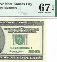 1999 $20 KANSAS CITY FRN, PMG SUPERB GEM UNCIRCULATED 67 EPQ BANKNOTE, NICE S/N