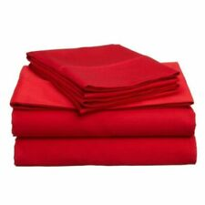 PREMIUM DUVET SET + FITTED SHEET KING SIZE RED SOLID 1200 TC EGYPTIAN COTTON