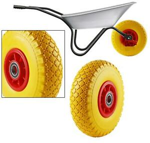 "10"" Solid Wheelbarrow Wheel Tubeless Barrow Tyre Burst & Puncture Proof Bearing"