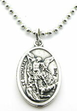Saint Michael Medal Pendant Necklace,Silver Plated with No Tarnish Chain