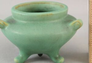 Small Antique Arts & Crafts TECO Art Pottery Small Matte Green Footed Pot Vase