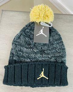 Nike Air Jordan Jumpman Pom Beanie Winter Hat, 9A1739 429 Black/Gold, Youth 8/20