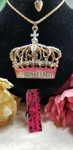Betsey Johnson Goldtone Beautiful Crown Pendant Necklace