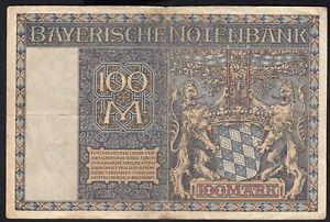 1922 100 Mark German States Bavaria Munich Rare Vintage Emergency Banknote VF