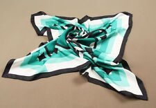 100% Silk Twill Large 90cm Square Women Scarf Wraps Mothers Day Gift Green Black