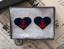 Ancla corazón Tatuaje pendientes-Rockabilly Vintage Tachas Sailor Jerry Navy Punk