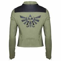 Womens Legend of Zelda Triforce Logo Biker Jacket - Ladies Fitted Cosplay