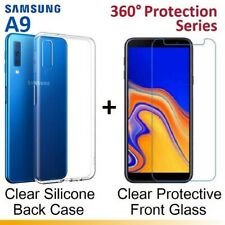 Front Back Clear Tempered Glass Screen Protector Gel Case for Samsung Galaxy A9