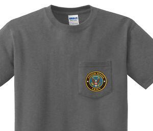 Pocket t-shirt men's US Army design front pocket tee for men dark gray shirt
