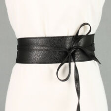 Women Soft PU Leather Self Tie Bow Wrap Around Waist Band Cinch Ladies Boho Belt